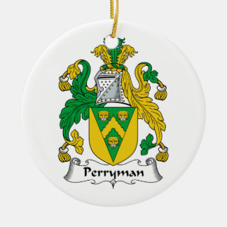 Perryman Family Crest Double-Sided Ceramic Round Christmas Ornament