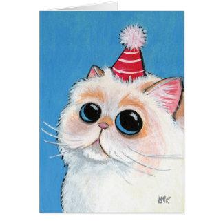 Persa blanco en un gorra del fiesta - tarjeta del