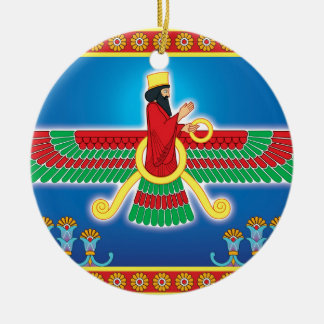 Persa Faravahar del Zoroastrian Adorno Navideño Redondo De Cerámica