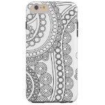 Persa oriental Paisley, puntos - blanco negro Funda De iPhone 6 Plus Tough
