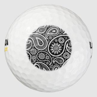 Persa oriental Paisley, puntos - blanco negro Pack De Pelotas De Golf