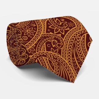 Persa oriental Paisley, remolinos - amarillo rojo Corbatas Personalizadas