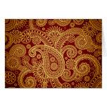 Persa oriental Paisley, remolinos - amarillo rojo Tarjeta De Felicitación
