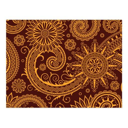 Persa oriental Paisley, remolinos - amarillo rojo Tarjetas Postales