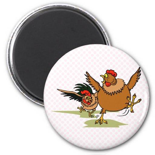 Persecución de pollos imán redondo 5 cm