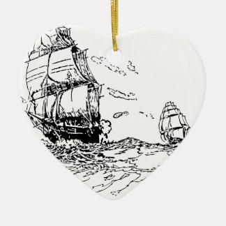 persecución de un slaver. adorno navideño de cerámica en forma de corazón