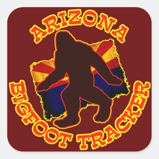 Perseguidor de Arizona Bigfoot Calcomanía Cuadradas Personalizadas