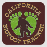 Perseguidor de California Bigfoot Calcomanías Cuadradases