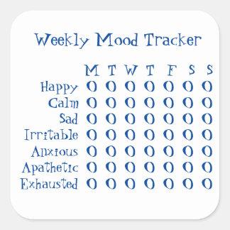 Perseguidor semanal del humor pegatina cuadrada