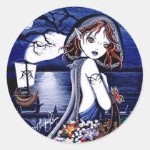 persephone, river, styxs, underworld, reed, boat, fairy, faery, fae, faerie, fairies, fantasy, gothic, dark, art, fine, myka, jelina, acrylic, Sticker with custom graphic design