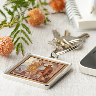 Perseus and Andromeda Silver-Colored Square Keychain