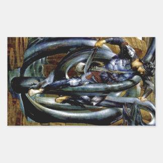 Perseus Man Dragon Fight Sword Painting Rectangular Sticker