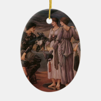 Perseus & The Sea Nymphs Double-Sided Oval Ceramic Christmas Ornament