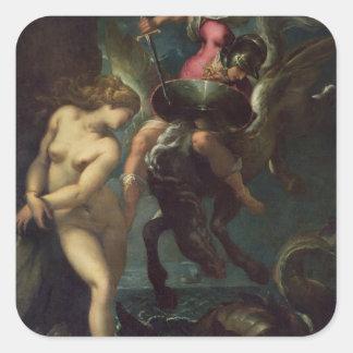 Perseus y Andromeda, c.1610 (aceite en lona) Pegatina Cuadrada