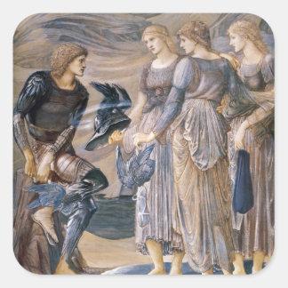 Perseus y las ninfas de mar pegatina cuadrada