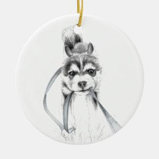 Perseverance, A Siberian Husky Ceramic Ornament