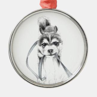 Perseverance, A Siberian Husky Metal Ornament