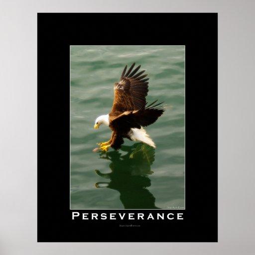 PERSEVERANCE Bald Eagle Motivational Art Poster