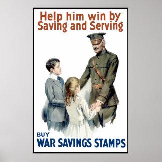 Pershing - Buy War Saving Stamps -- Border Poster