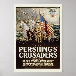 Pershings Crusaders Vintage US Military Poster