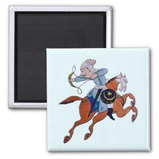 Persian archer on horseback 2 inch square magnet