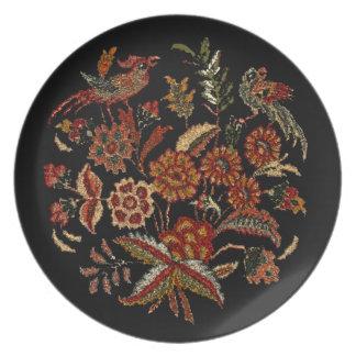 Persian Birds  Flowers Plate
