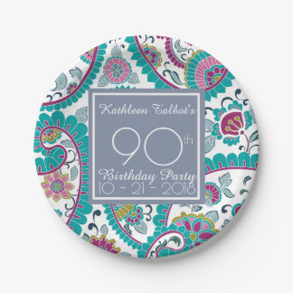 Persian Boteh Paisley 90th Birthday Party Paper P Paper Plate