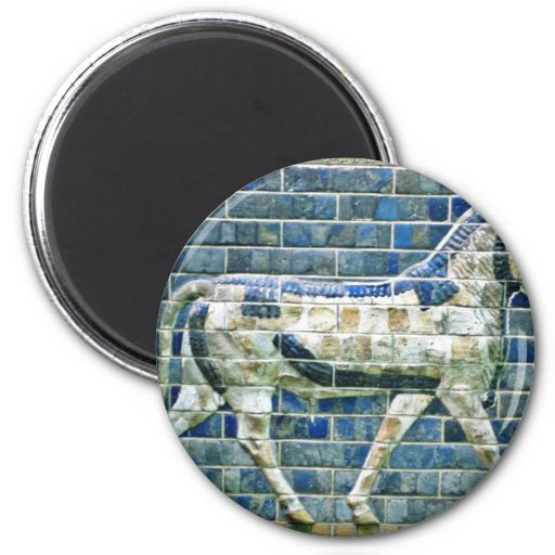 Persian Bull - Glazed Brick, Istanbul 2 Inch Round Magnet