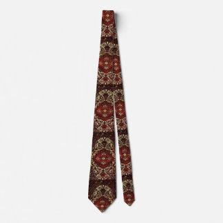 Persian carpet look in dark red and cream neck tie