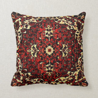Persian carpet look in dark red and cream throw pillow