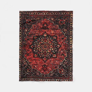 Persian carpet look in rose tinted field fleece blanket