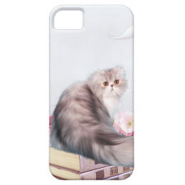 Persian cat and books iPhone SE/5/5s case