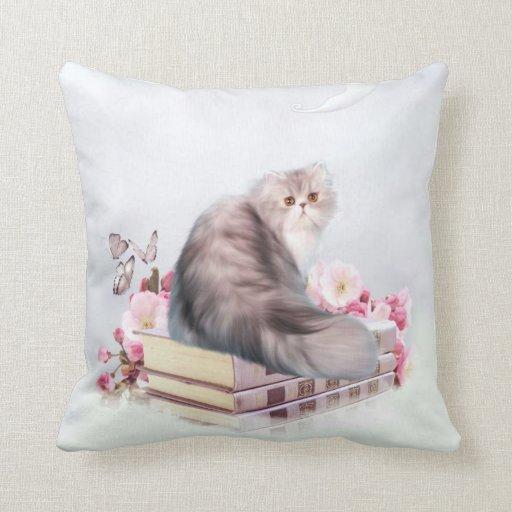 Persian Design Throw Pillows : Persian cat and books throw pillow Zazzle