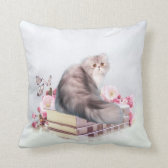 Persian cat and books throw pillows
