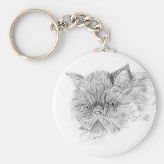 persian cat basic round button keychain
