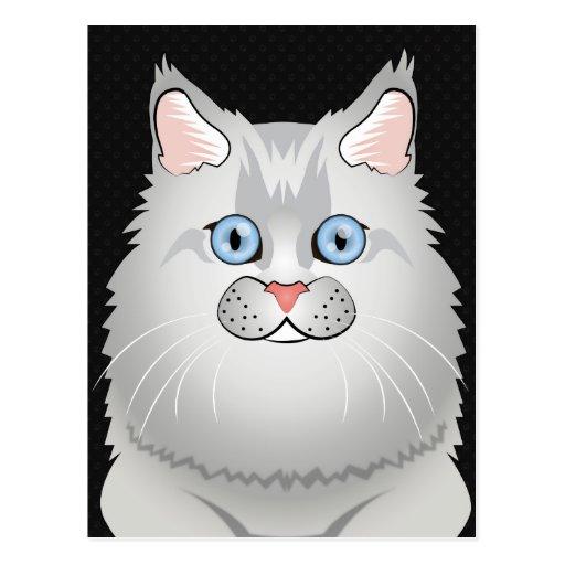Persian Cat Cartoon (Doll-Face) Postcard