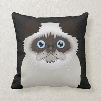 Persian Cat Cartoon Flat-Face Throw Pillow