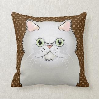 Persian Cat Cartoon Flat-Face White Pillow