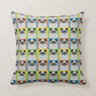 Persian Cat Cartoon Pop-Art Seal-Point Throw Pillows