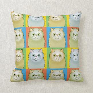 Persian Cat Cartoon Pop-Art White Flat Throw Pillows