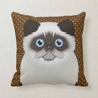 Persian Cat Cartoon Seal-Point Throw Pillows