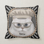 Persian Cat Chef Throw Pillow