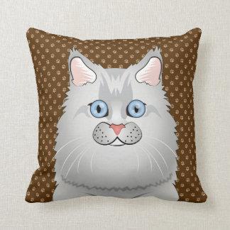Persian Cat Doll-Face Cartoon Throw Pillow