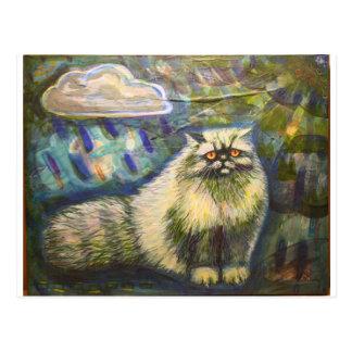 Persian cat in the Rain Postcard
