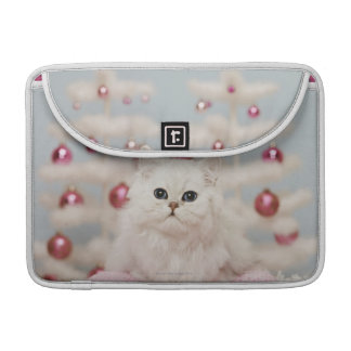 Persian cat sitting on pink pillow sleeve for MacBooks