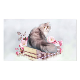 Persian cat with books business card