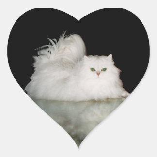 Persian Cat with Jade Green Eyes Heart Sticker
