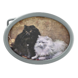 Persian Cats Painting Oval Belt Buckle