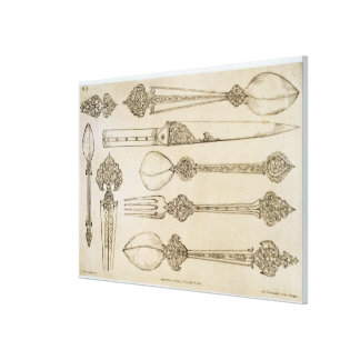 Persian design for everyday silver cutlery, from ' canvas print