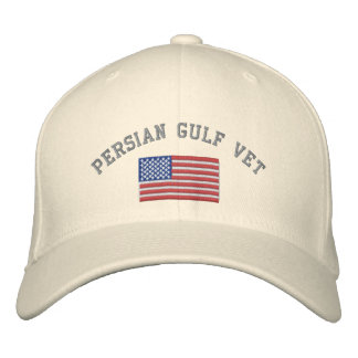 Persian Gulf Vet with American Flag Embroidered Baseball Hat